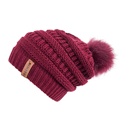 (Clearrance!! Women Slouchy Knit Beanie Chunky Baggy Hat with Faux Fur Pompom Winter Soft Warm Ski Cap (Red))