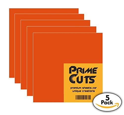 Adhesive Permanent Self (Permanent Adhesive Vinyl Sheets - PrimeCuts - 5 Orange Sheets 12