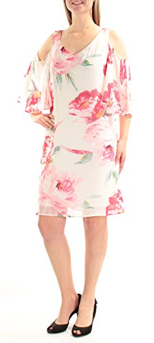 (Connected Apparel Womens Chiffon Floral Print Casual Dress Ivory 10)