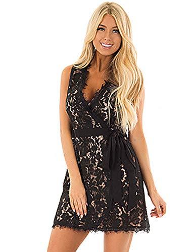 Color Ajuste JIZHI Encaje Vestido Vaina Black Sobre Un Rodilla XL Mujer De La qCCwFH0