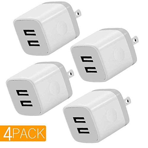 USB Charger, 4-Pack 5V/2.1AMP Power Adapters 2-Port Fast Dual Port Travel Mobile Phone AC Adapter Portable Block Plug Compatible with Phone XS MAX/XR/X/8/7/Plus/6S/6/SE/5S/5C/Tablet (White)