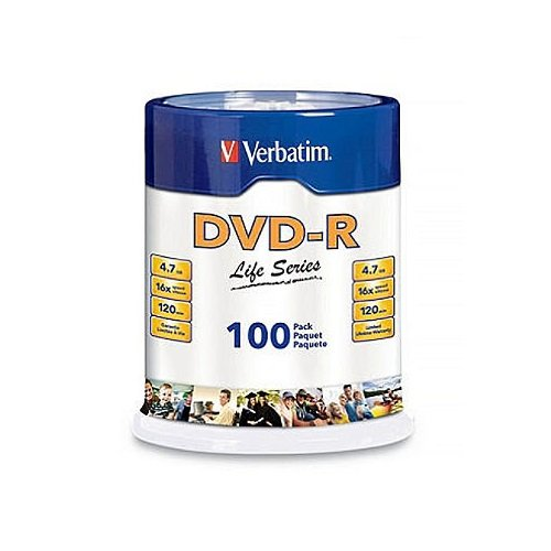Verbatim DVD-R Life Series 4.7GB 16x, 100 Pack