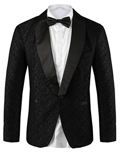 Hanayome Men's Exclusive Original Design Wedding Dress Slim Fit Shawl Tuxedo£¨Black,46L£
