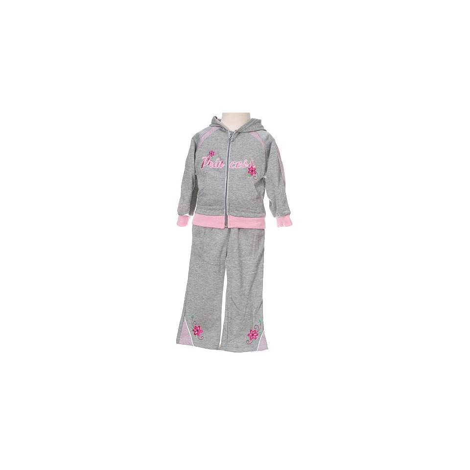Infant Baby Girls Clothes Grey Princess Jogging Suit Outfit Girl 12 24M