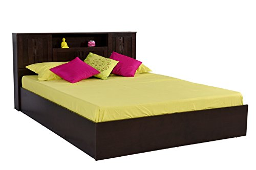 DeckUp Bei Queen Bed with Box Storage (Dark Wenge, Matte Finish)