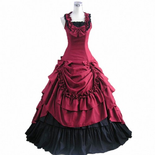 Loli Miss Womens Sleeveless Bowknot Gothic Lolita Dress Floor Length Ball Gown XL WineRed ()
