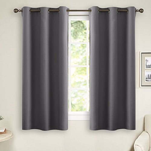 Long Window Curtain (Grey Blackout Curtains for Bedroom - PONY DANCE Thermal Insulated Grommet Curtain Panels Room Darkening for Kitchen Window Treatments Home Decoration, 42 inches wide by 45 inches long, 1 Pair)