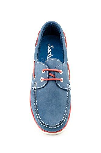 Náuticos Nobuk para Hombre Todo Piel, Sachini mod.1020, Calzado Made in Spain Garantía de Calidad. Azul