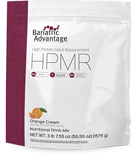 Bariatric Advantage - HIGH Protein Meal Replacement (HPMR) Powdered Shake Mix, Orange Cream Flavor, 27 g Whey Protein Isolate, 20+ Vitamins and Minerals, Gluten-Free