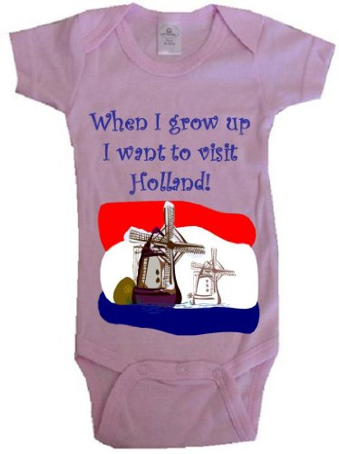 WHEN I GROW UP I WANT TO VISIT HOLLAND - BigBoyMusic Baby Designs - Pink Baby One Piece Bodysuit - size Large - Haag Nederland
