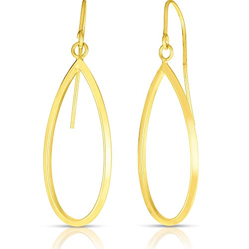 BH 5 Star Jewelry 14kt Yellow and White Gold 13x41mm Shiny Tear Drop Fancy Earring with Euro Wire Clasp (Yellow-Gold)