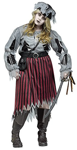 Zombie Pirate Queen Buccaneer Halloween Dress & Hat Adult Womens Costume PLUS