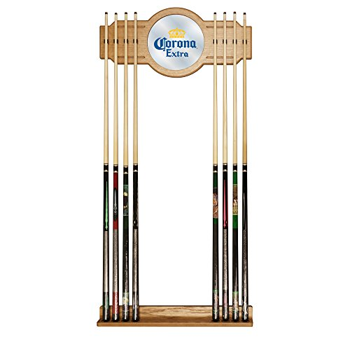 Corona Extra Stained Wood Cue Rack with Mirror - Logo - by Corona by Trademark Gameroom