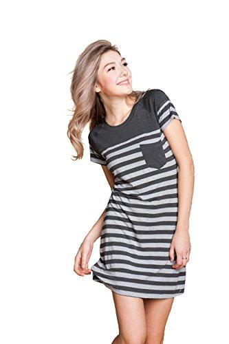 Marster Fashions Cotton Sleeveless Nightdress Striped Short Nightie(Grey,XXL,1002W)