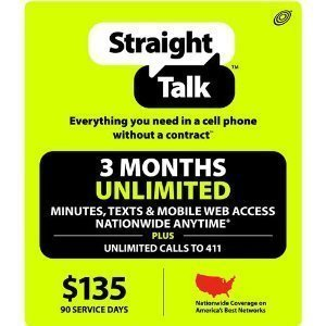 Straight Talk 3 Months Unlimited Service Card (Mail Delivery) by Straight Talk