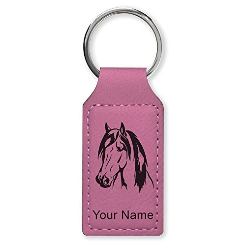 Rectangle Keychain, Horse Head 1, Personalized Engraving Included (Pink) ()