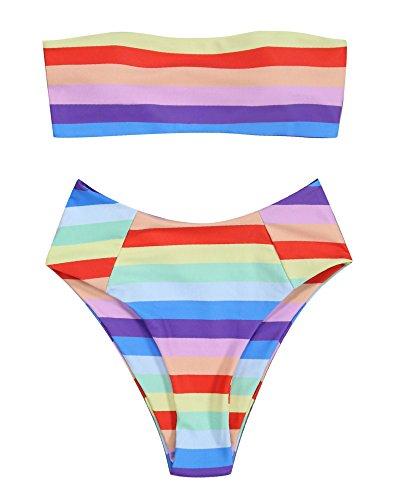 RUUHEE Women Bandeau High Waisted Stripe Pattern Two Piece Swimsuits Bikini Set (S(US Size 4-6),Rainbow (Stripe String Bikini Bottom)