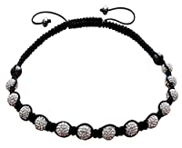 Shamballa necklace with clayball made of CZ crystals- Adjustable size 17 to 22 inches