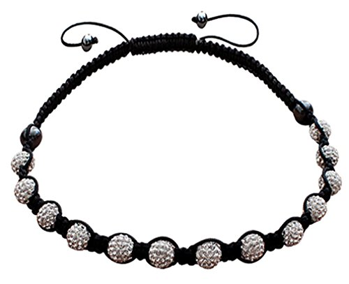 Shamballa necklace with clayball made of CZ clear crystals- Adjustable size 17 to 22 inches