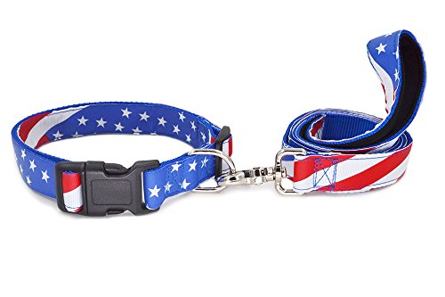 W&Z American US Flag Nylon Dog Collar and Leash Set - Independence Day,Patriotic, Fourth of July Dog Collar, Heavy Duty Adjustable for Small Medium Large Breeds Dog - L - 18' Nylon Collar