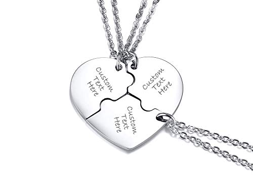VNOX 3 Piece Heart Puzzle Piece Necklace Set Personalized Customized BBF Friendship Necklace for 3 ()