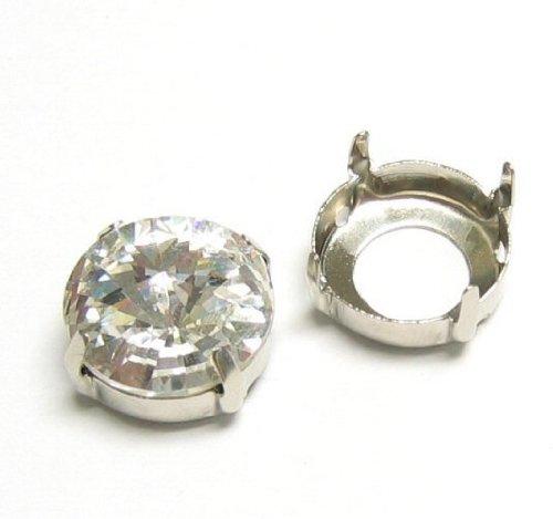 6 pcs Metal 4 Holes Sew On Setting for Swarovski (Bright Metal Findings)