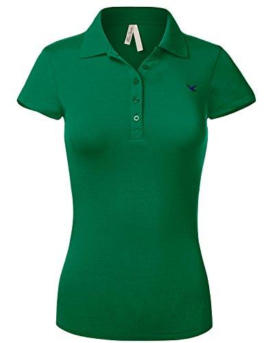 Slim Fit Long Waist Short Sleeve Plain Polo Tee Shirts 102 Kelly Green Us M