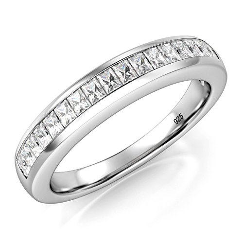 Engagement Sterling Baguette Silver Ring - Sz 9 Sterling Silver Baguette CZ Half Eternity 3MM Cubic Zirconia Ring