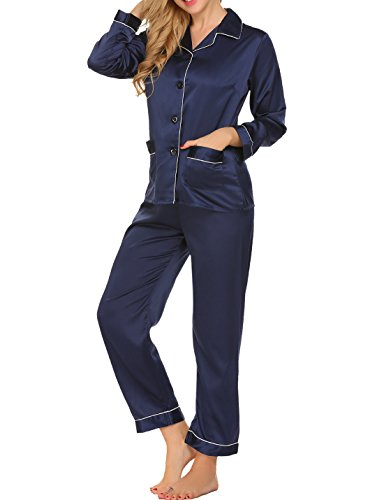jamas for Women Long Sleeve Spring Cool Silky Satin Sleepwear 2 Piece (Satin Striped Button)