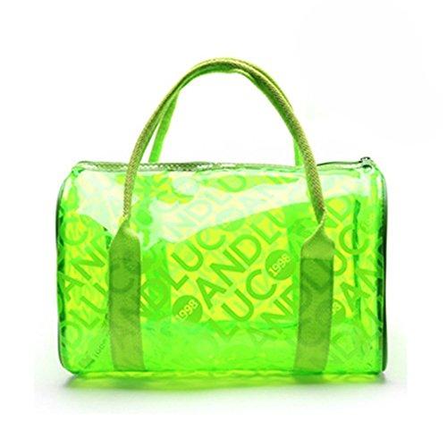Moda impermeable transparente PVC neceser maquillaje organizador bolsa bolso de mano bolsa playa bolso para las mujeres niñas rosa hot pink Verde