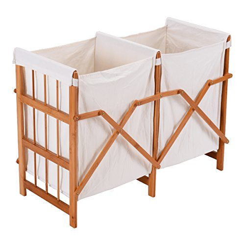 NEW Household Folding Bamboo Frame Laundry Hamper Clothes Storage Basket Bin W/2 Bag