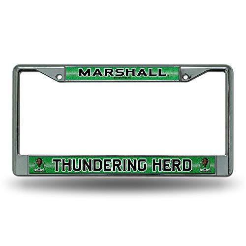 (SHUIZHIQING NCAA Marshall Thundering Herd Bling Chrome License Plate Frame with Glitter)