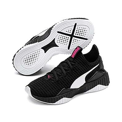 PUMA Girls DEFY PS Sneaker, Puma Black-puma White, 1 US