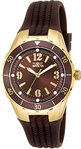 Invicta Women's 'Angel' Quartz Stainless Steel and Polyurethane Casual Watch, Color:Brown (Model: 17485)