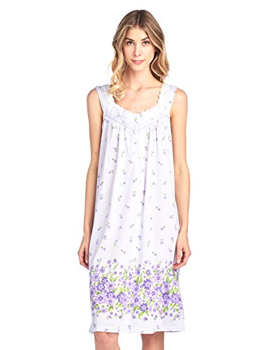 Casual Nights Women's Fancy Lace Floral Sleeveless Nightgown - Purple - Medium (Nightgown Pintucked)
