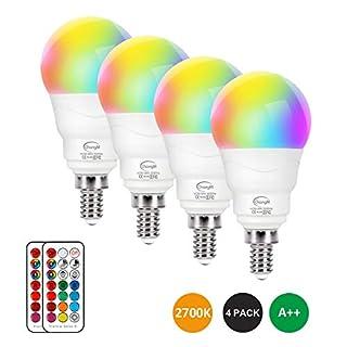 E12 LED Light Bulbs 5W, 40W Equivalent, Small Base Round Candelabra Light Bulbs, Set of 4 LED Color Changing Light Bulbs, Dimmable Color LED Bulb with Remote Control RGB Warm White 2700K