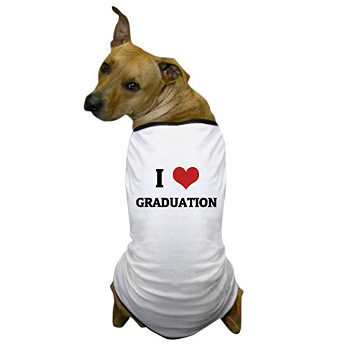 CafePress - I Love Graduation Dog T-Shirt - Dog T-Shirt, Pet Clothing, Funny Dog Costume (Dog Graduation Costume)