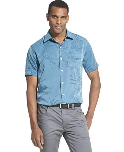 Van Heusen Men's Air Tropical Short Sleeve Button Down Poly Rayon Shirt, Turquoise Seabed, Large