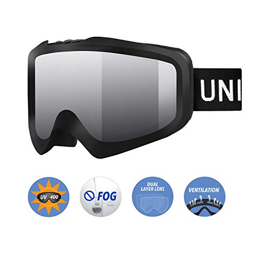 Unigear Skido X1 Ski Goggles, Anti-Fog Snowboard Goggles for Men, Women & Youth - 100% UV Protection (Silver Lens (VLT 16.1%)) - One Mens All Mountain Snowboard