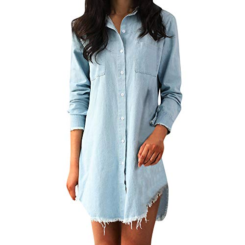 m Long Sleeve Loose Button Up Irregular Shirt Mini Dress with Pockets ()