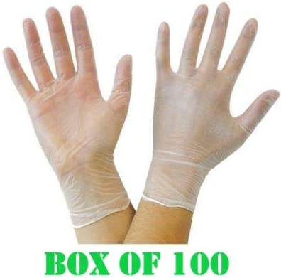 Pack of 100 Vinyl Gloves Clear Large Powder Free