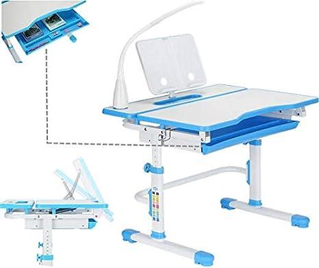 ... niños estudio ergonómico escritorio, Inclinación de sobremesa, Cajón extraíble gratuito, portavasos gratuito, lámpara LED con 3 ajustes gratuito, ...