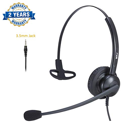 Corded Cell Phone Headset with Microphone 3.5mm Noise Cancelling Headset for iPhone, Huawei, HTC, Samsung, Xiaomi, Vivo etc Smartphones