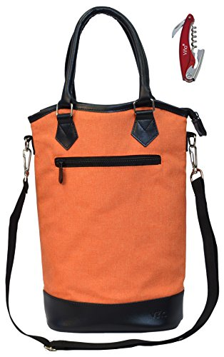 Vina 2 Bottle Wine Tote Bag - Thermal Insulated Champagne Purse Cooler Carrier with Strong Handle and Shoulder Strap, Great for Travel and Restaurants, Picnics, ()