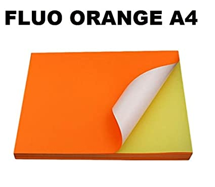 25 hoja de papel adhesiva A4 FLUO ORANGE A4 210 x 297 mm ...
