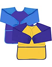Jinlaili 2 Pack Kids Aprons for Painting,Waterproof Children's Art Smock,Long Sleeve Art Aprons with 3 Convenient Pockets for Daily Activities for Age 2-7 Years(Blue+Yellow)