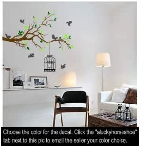 Vinyl Decal Scrollwork Tree Branch with Birdcage Wall Sticker