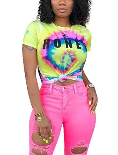 Deloreva Women Summer Tee Shirt - Casual Short Sleeve Color Block Blouse Tunic Top Pullover Tshirts Yellow S