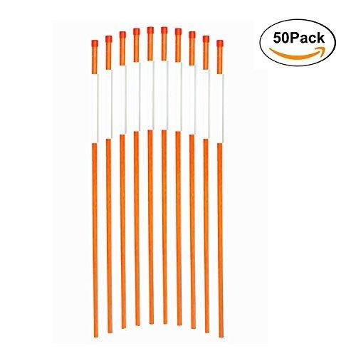 fibermarker反射警告標識36インチのプロパティ安全極簡単Visibility at Night 1 /4インチ直径オレンジ、50パック B017UC5A8M
