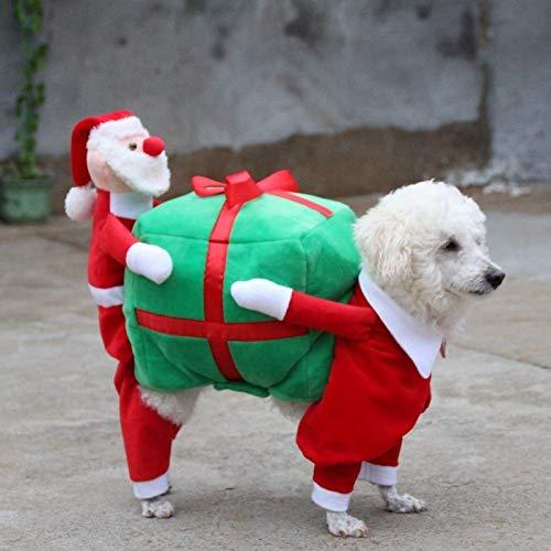 FidgetFidget Funny Pet Dog Clothes Santa Claus Carrying